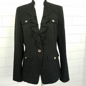 WHBM Black Ruffle Blazer Jacket Size 12 Stretch